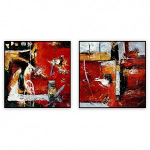 Abstract Art Oilpaintings - 89 - Set of two: 40x40, 30x40