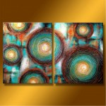 "Abstract Art Oilpaintings - 121: Set of 2 , 36"" x 48 "" Total Size"