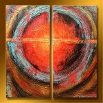 "Abstract Art Oilpaintings - 122: Set of 2 , 40"" x 40 "" Total Size"
