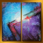 "Abstract Art Oilpaintings - 123: Set of 2 , 40"" x 40 "" Total Size"