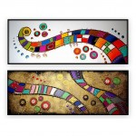 "Abstract Art Oilpaintings - 127: Set of 2 - 20"" x 60 "" each,"
