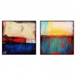 "Abstract Art Oilpaintings - 130: Set of 2 - 40"" x 40 "" each"