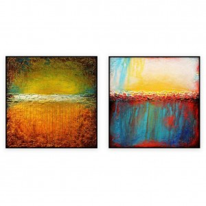 "Abstract Art Oilpaintings - 131: Set of 2 - 40"" x 40 "" each"