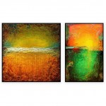 "Abstract Art Oilpaintings - 132: Set of 2 - 40"" x 40 "" each"