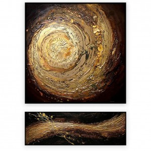 "Abstract Art Oilpaintings - 108: set of 2 - 24x48"" each,"