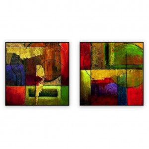 "Abstract Art Oilpaintings - 009: Set of 2 - 40"" x 40 "" each"